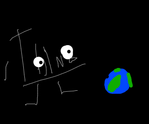 """A literal """"thing"""" looks at earth from space"""