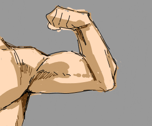A flexing muscular arm