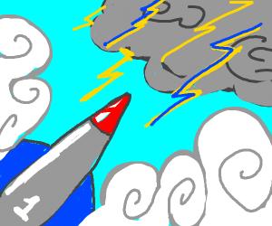 Rocket entering a storm!