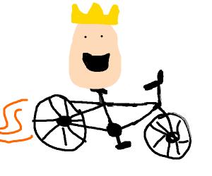The egg king riding his rad bike