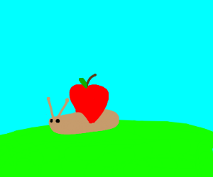 Snail uses an apple as its shell