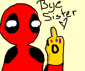 Deadpool flips you the bird with the gauntlet
