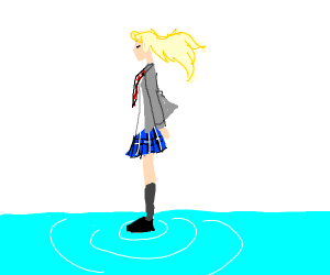 Girl with blond hair and blue skirt