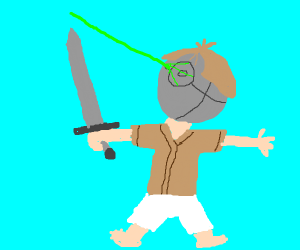 some star wars lookin kid holding a sword