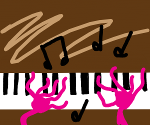 Squiggly pink hands play the piano