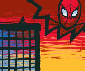 spiderman on a skyscraper