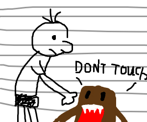Gred Heffley gropes at brown creature