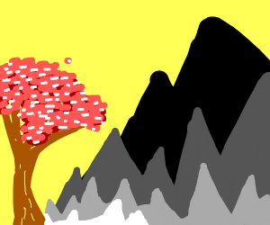 Pink Blossom tree by the mountains