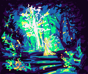 Magical forest with fairy walking