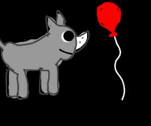 A rhino is about to pop a red balloon
