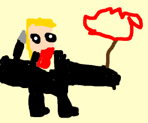A brutal blonde man with a tiny stop sign