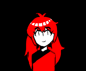 A girl smiling and she has red hair