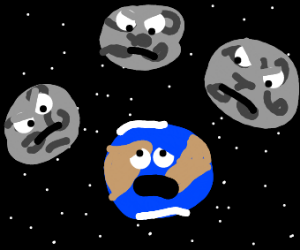 Earth afraid because has 3 angry moons