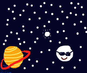 planet in bottom left corner