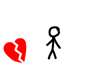 Heart broken next to a stickman