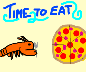 Lobster eating pizza