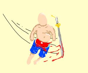 samurai sword slices through body
