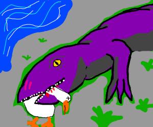 Purple lizard eats a duck