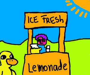 A duck walks up to a lemonade stand