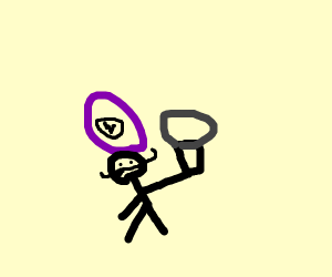 Waluigi shows off his microphone