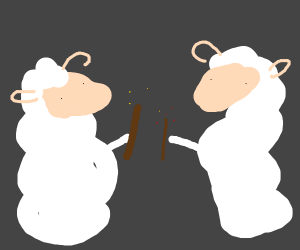 Sheep with wands