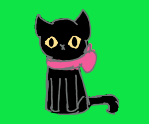 Black cat with a pink bow