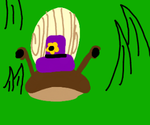 snail with a purple hat with a flower on it