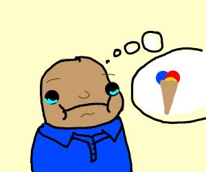 Sad boi thinking about ice cream