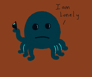 sad octopus is lonely