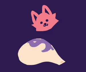 Cat head floats above a burlap sack