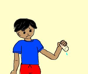 blue shirt boy has empty glass