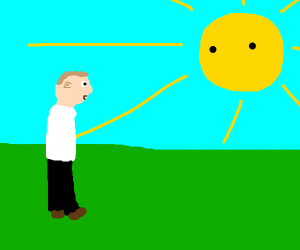 person staring at sun