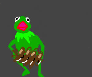 Kermit wannabe holding a pine cone