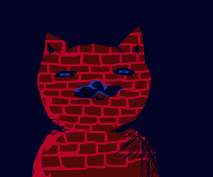 a cat made out of bricks
