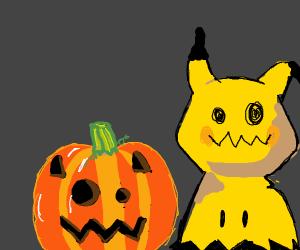 Mimikyu with a Jack-o-Lantern