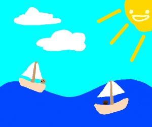 Two boats on the ocean during a sunny day