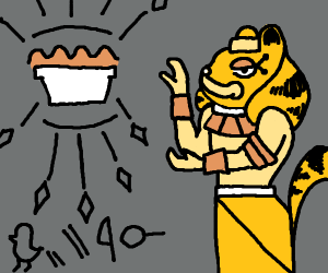Egyptian Garfield shows hyroglyph pie