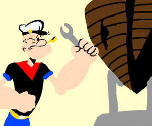 Skinny man w/ giant arm & wrench fixing boat