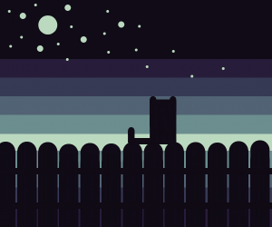 A black kitty on a fence w/ a starry sky