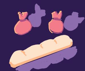 bags behind baguette