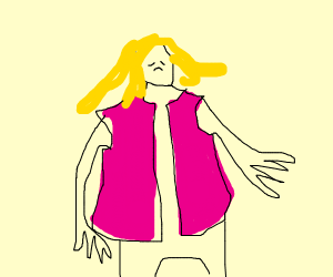 Blonde haired, pink vested and Sad girl