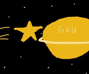 Shooting star hits golden saturn