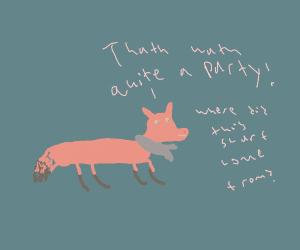 drunk fox wearing a scarf
