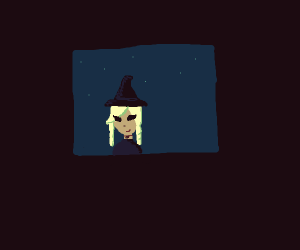 Witch with blonde braids from TV