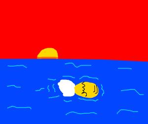 Homer Simpson drowns