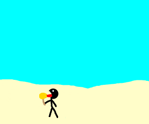 Boy licking a lollipop by the sea