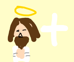 jesus with a halo and a cross next to him