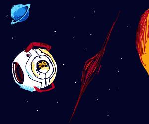 Spaceship escape pod in space