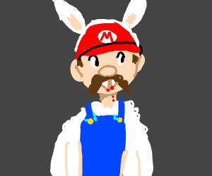 Mario trick or treating at vampire bunny