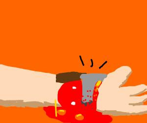 chopping off a hand